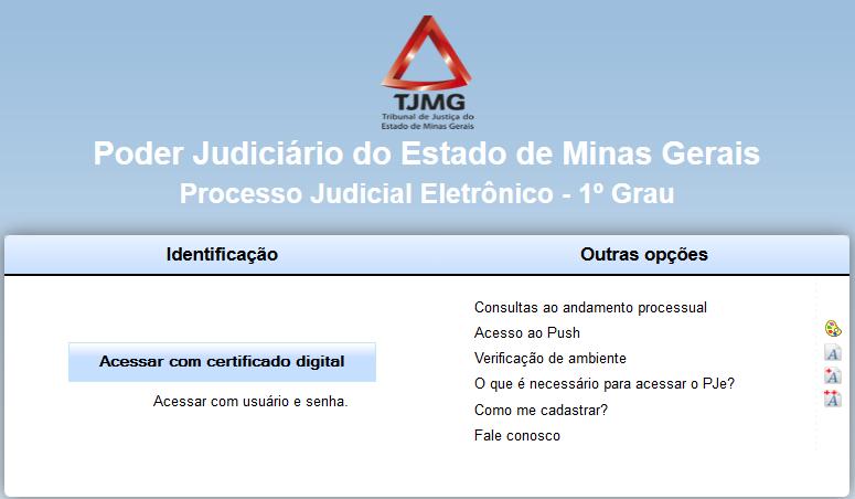 Acesso ao Sistema TJMG com Certificado Digital