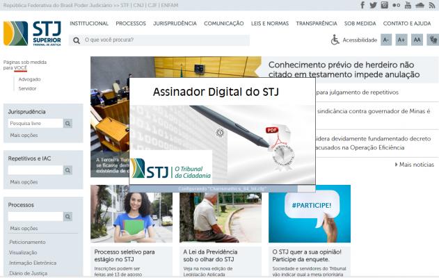 Assinador STJ direto no sistema com Certificado Digital